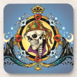 King Skull Pirate with Hearts by Al Rio Beverage Coasters