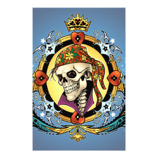 King Skull Pirate with Hearts by Al Rio Full Color Flyer