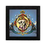King Skull Pirate with Hearts by Al Rio Trinket Boxes