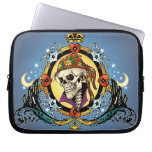 King Skull Pirate with Hearts by Al Rio Laptop Sleeve
