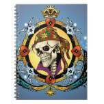 King Skull Pirate with Hearts by Al Rio Spiral Note Books