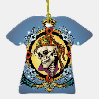 King Skull Pirate with Hearts by Al Rio Ornaments