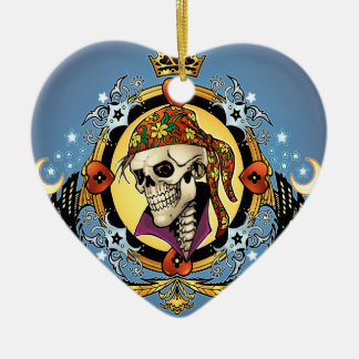 King Skull Pirate with Hearts by Al Rio Christmas Ornaments