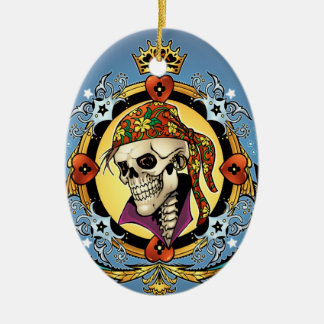 King Skull Pirate with Hearts by Al Rio Christmas Ornament
