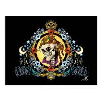 skull, skulls, skeleton, skeletons, hearts, king, crown, doves, city, urban, al rio, military, Cartão postal com design gráfico personalizado