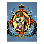King Skull Pirate with Hearts by Al Rio Post Cards