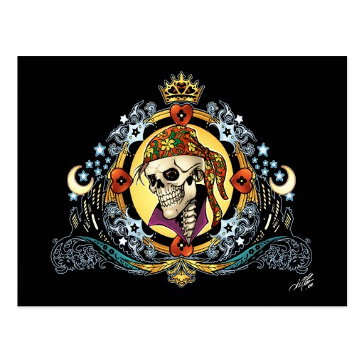 King Skull Pirate with Hearts by Al Rio Post Card