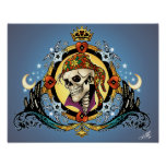 King Skull Pirate with Hearts by Al Rio Poster