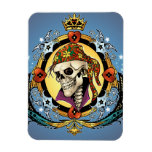 King Skull Pirate with Hearts by Al Rio Rectangular Magnets