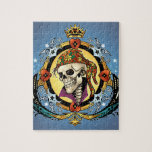 King Skull Pirate with Hearts by Al Rio Jigsaw Puzzles