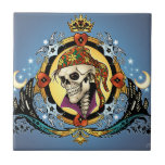 King Skull Pirate with Hearts by Al Rio Ceramic Tiles
