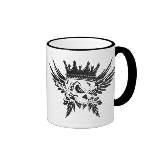 King Skull with Dagger Ringer Coffee Mug