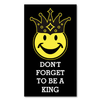 King Smiley yellow + your background & sayings Business Card Magnet