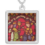 King Solomon and the Queen of Sheba, c.1270 Square Pendant Necklace