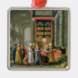 King Solomon and the Queen of Sheba Metal Ornament