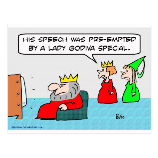king speech preempted lady godiva special post cards