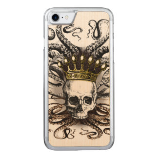 King Squid Skull Wood Carved iPhone 7 Case