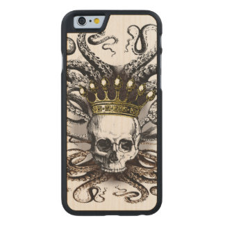 King Squid Skull Wood Case