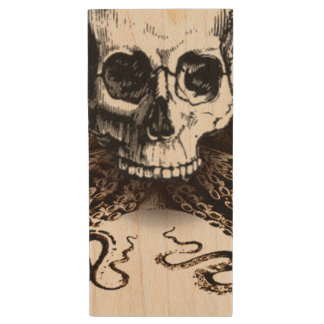 King Squid Skull Wood USB Flash Drive