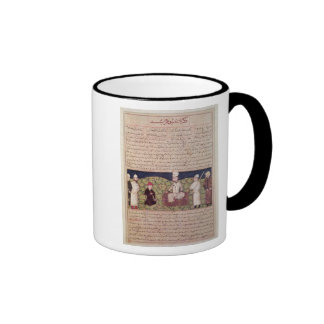 King surrounded by courtiers ringer coffee mug