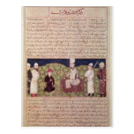 King surrounded by courtiers postcard