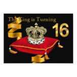 King Theme 16th Birthday Party 5x7 Paper Invitation Card