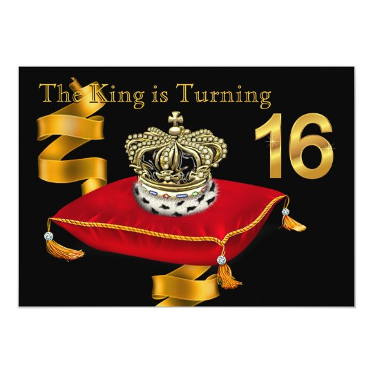 King Theme 16th Birthday Party Invitation