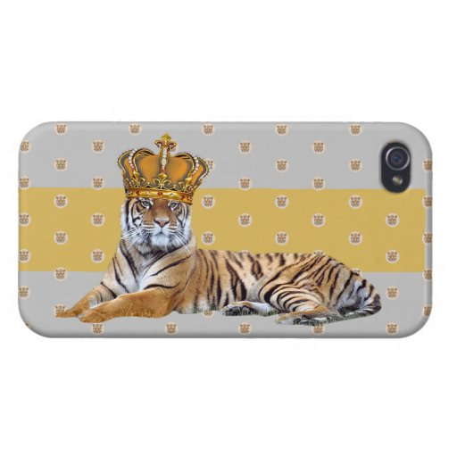 King Tiger gold crown Case For iPhone 4