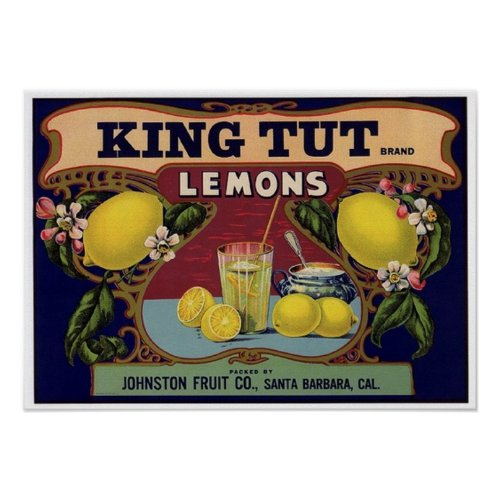 King Tut Brand Lemons Crate Label