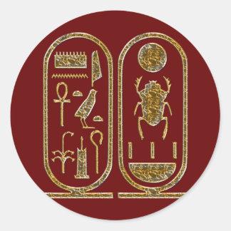 King Tut  Hieroglyphics Classic Round Sticker