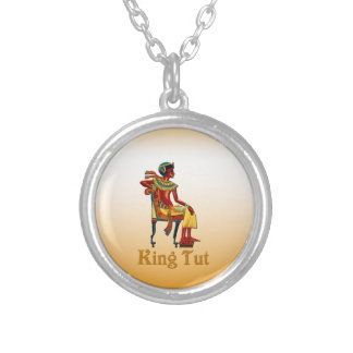 King Tut on his throne Silver Plated Necklace