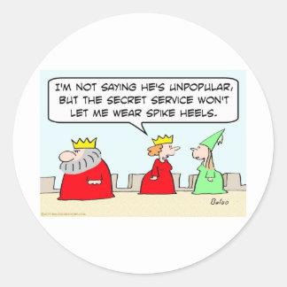 king unpopular spike heels secret service queen classic round sticker