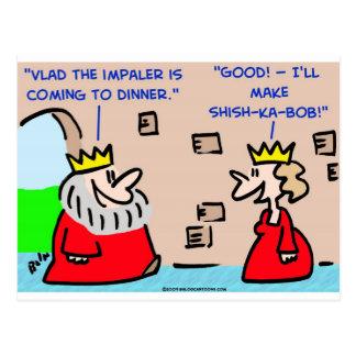 king vlad the impaler shish-ka-bob postcard