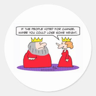 king voted change lose weight round sticker