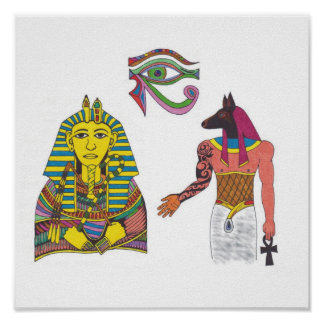 King With Anubis And Eye of RA Poster