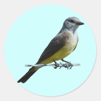 Kingbird occidental B0045 Pegatina Redonda