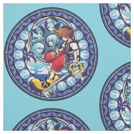 Kingdom Hearts | Blue Stained Glass Key Art Fabric