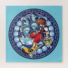 Kingdom Hearts | Blue Stained Glass Key Art Jigsaw Puzzle