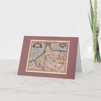 Kingdom of Fes, Antique Map - Greeting Card card