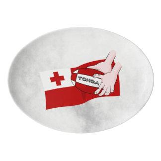 Kingdom of Tonga Tongan Rugby Flag Porcelain Serving Platter