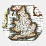 Kingdome del mapa/de la bandera de Inglaterra Pegatina Redonda