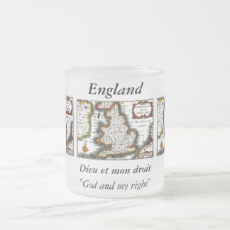 Kingdome of England (Kingdom of England) Map/Flag Frosted Glass Coffee Mug