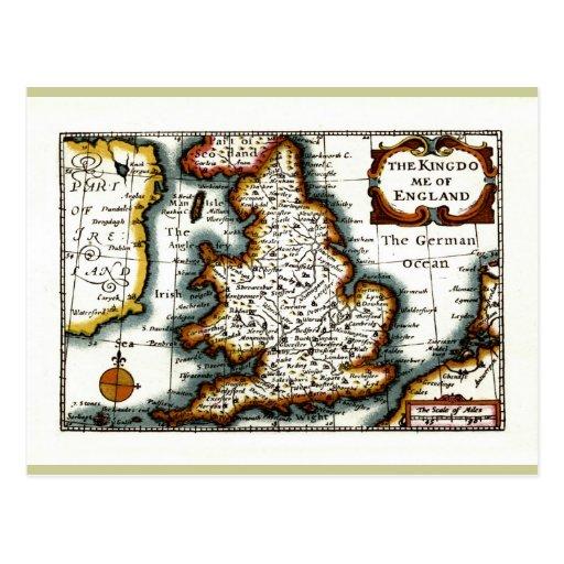 Kingdome of England (Kingdom of England) Map/Flag Postcard