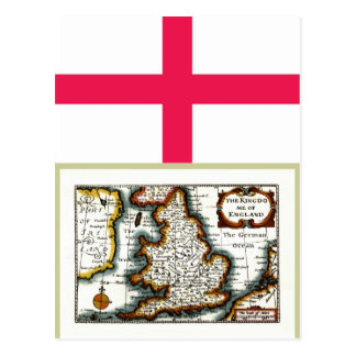 Kingdome of England (Kingdom of England) Map/Flag Postcard