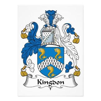 Kingdon Family Crest Personalized Invitations