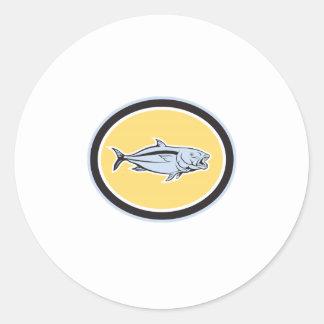 Kingfish Cartoon Oval Classic Round Sticker