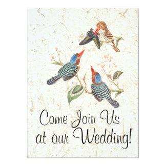 Kingfisher Bird Flowers Floral Wedding Invitations
