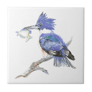 Kingfisher Bird Nature Watercolor Animal Ceramic Tile