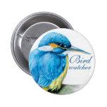 Kingfisher bird watcher button/badge pinback button
