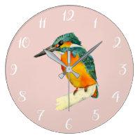 Kingfisher Bird Watercolor Painting Large Clock